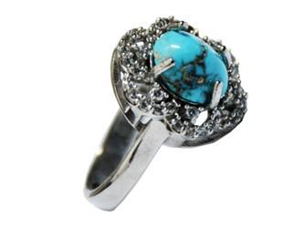 انگشتر نقره فیروزه نیشابور آبی شجر زنانه جواهری رکاب آبکاری طلا سفید