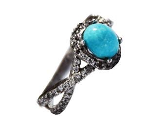 انگشتر نقره فیروزه نیشابور آبی شجر زنانه جواهری آبکاری طلا سفید نگین زیرکونیا