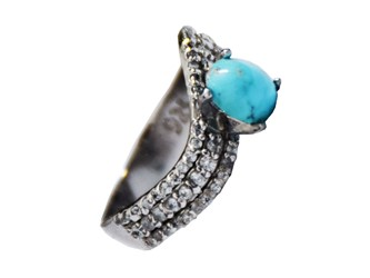 انگشتر نقره فیروزه نیشابور آبی شجر زنانه جواهری آبکاری طلا سفید با نگین زیرکونیا