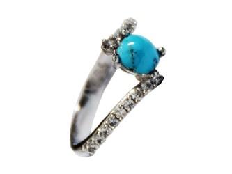 انگشتر نقره فیروزه نیشابور آبی شجر زنانه جواهری  آبکاری طلا سفید