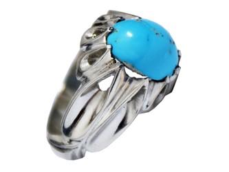 """انگشتر نقره فیروزه نیشابور مردانه درجه یک بسیار مرغوب  دست ساز اثر استاد""""باصری"""""""