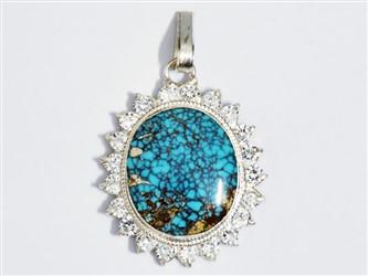 مدال تو گردنی نقره فیروزه نیشابور طرح جواهری آبی شجر