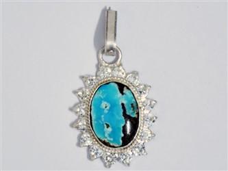 مدال تو گردنی نقره فیروزه نیشابور طرح جواهری  آبی آسمانی  شجر