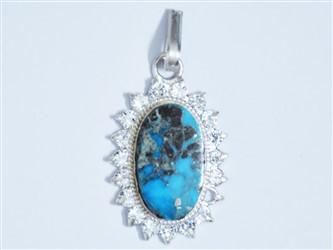 مدال تو گردنی نقره فیروزه نیشابور آبی آسمانی شجر طرح جواهری