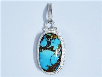 مدال تو گردنی نقره فیروزه نیشابور آبی آسمانی شجر با عیار 925 (بالاترین عیار نقره)